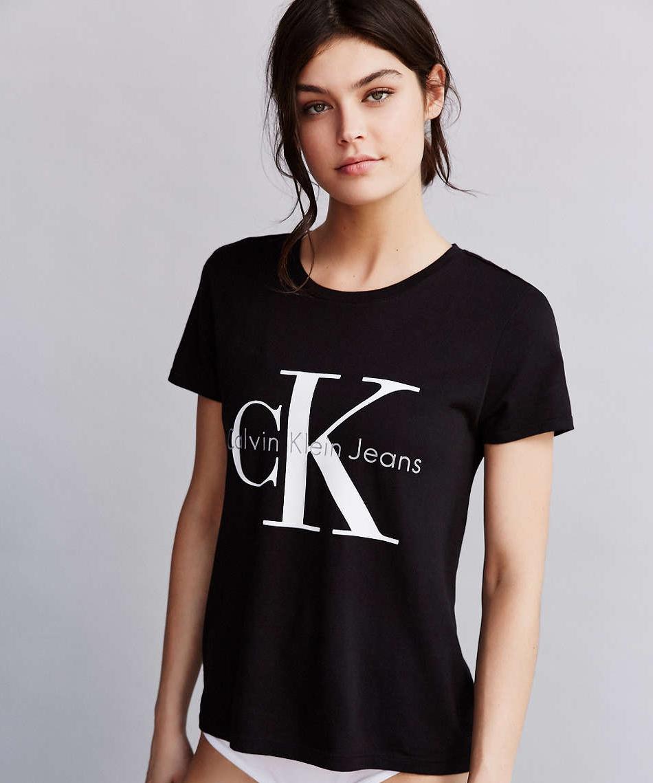 美國百分百【Calvin Klein】T恤 CK logo 短袖 T-shirt 短T 圓領 黑色 女 S M L號 F824
