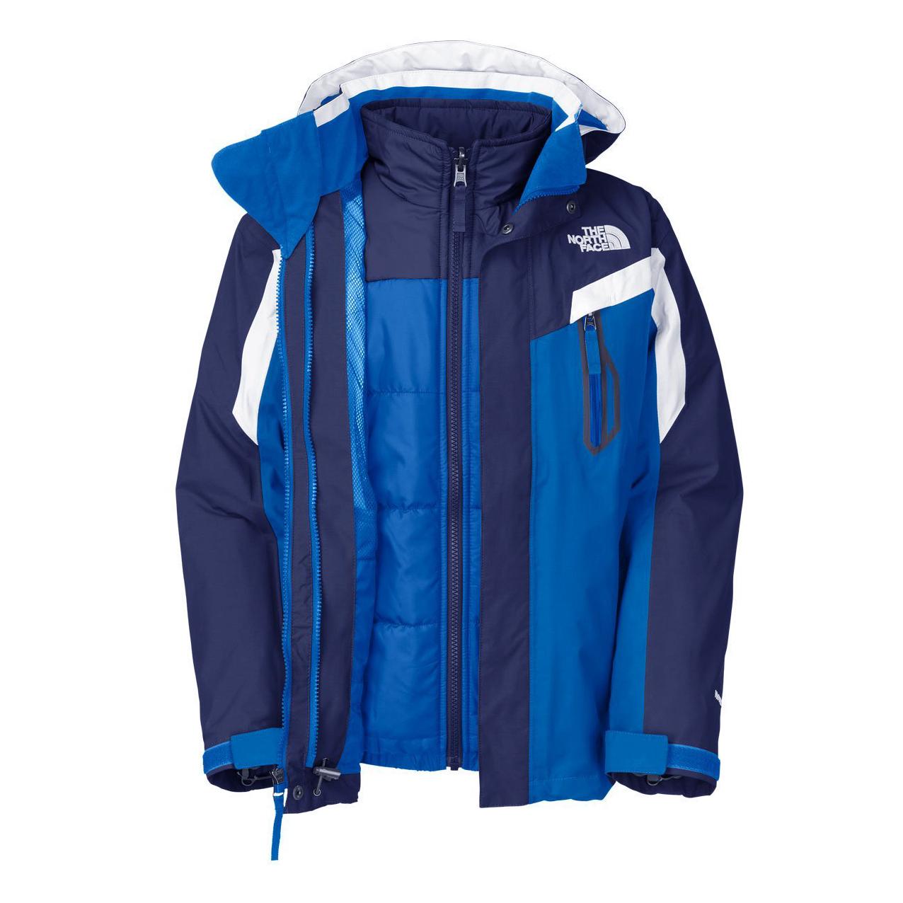 美國百分百【The North Face】防風 連帽 外套 TNF 保暖 防水 防寒 兩件式 北臉 藍色 S號 F830