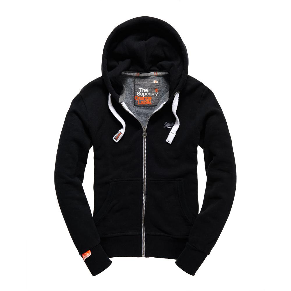 美國百分百【全新真品】Superdry 極度乾燥 連帽 外套 夾克 帽T 刷毛 拉鍊 經典款 黑色 M L號 F842