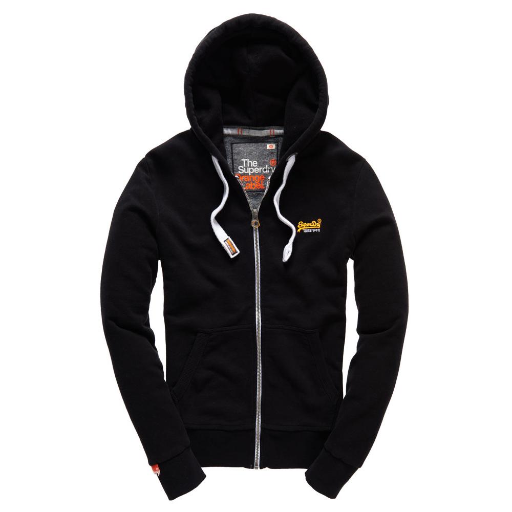 美國百分百【全新真品】Superdry 極度乾燥 連帽 外套 夾克 帽T 刷毛 拉鍊 經典款 黑色 橘字 S M L號 F842