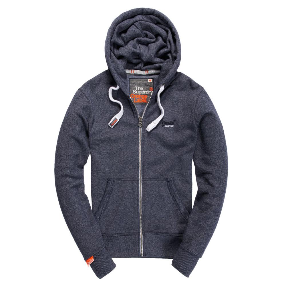 美國百分百【全新真品】Superdry 極度乾燥 連帽 外套 夾克 帽T 刷毛 拉鍊 經典款 藍灰色 黑字 S M L號 F842