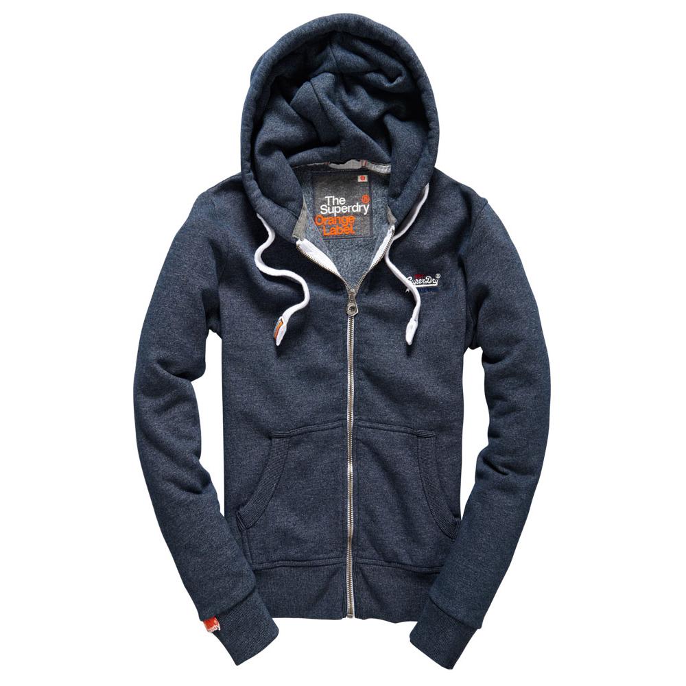 美國百分百【全新真品】Superdry 極度乾燥 連帽 外套 夾克 帽T 刷毛 拉鍊 經典款 藍灰色 白字 S號 F842