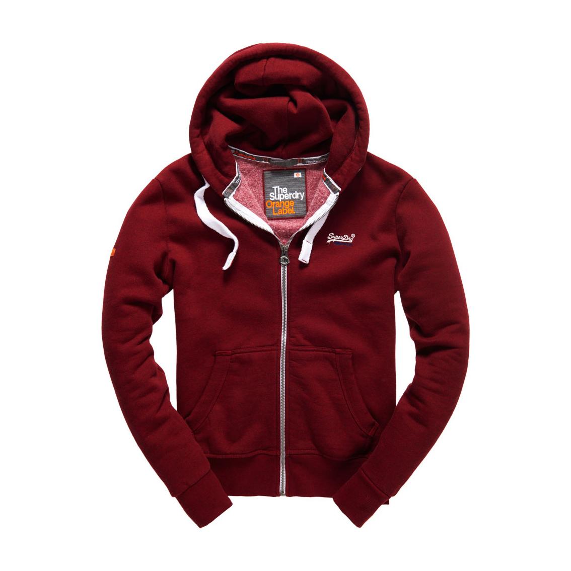 美國百分百【全新真品】Superdry 極度乾燥 連帽 外套 夾克 帽T 刷毛 拉鍊 經典款 酒紅色 S M號 F842