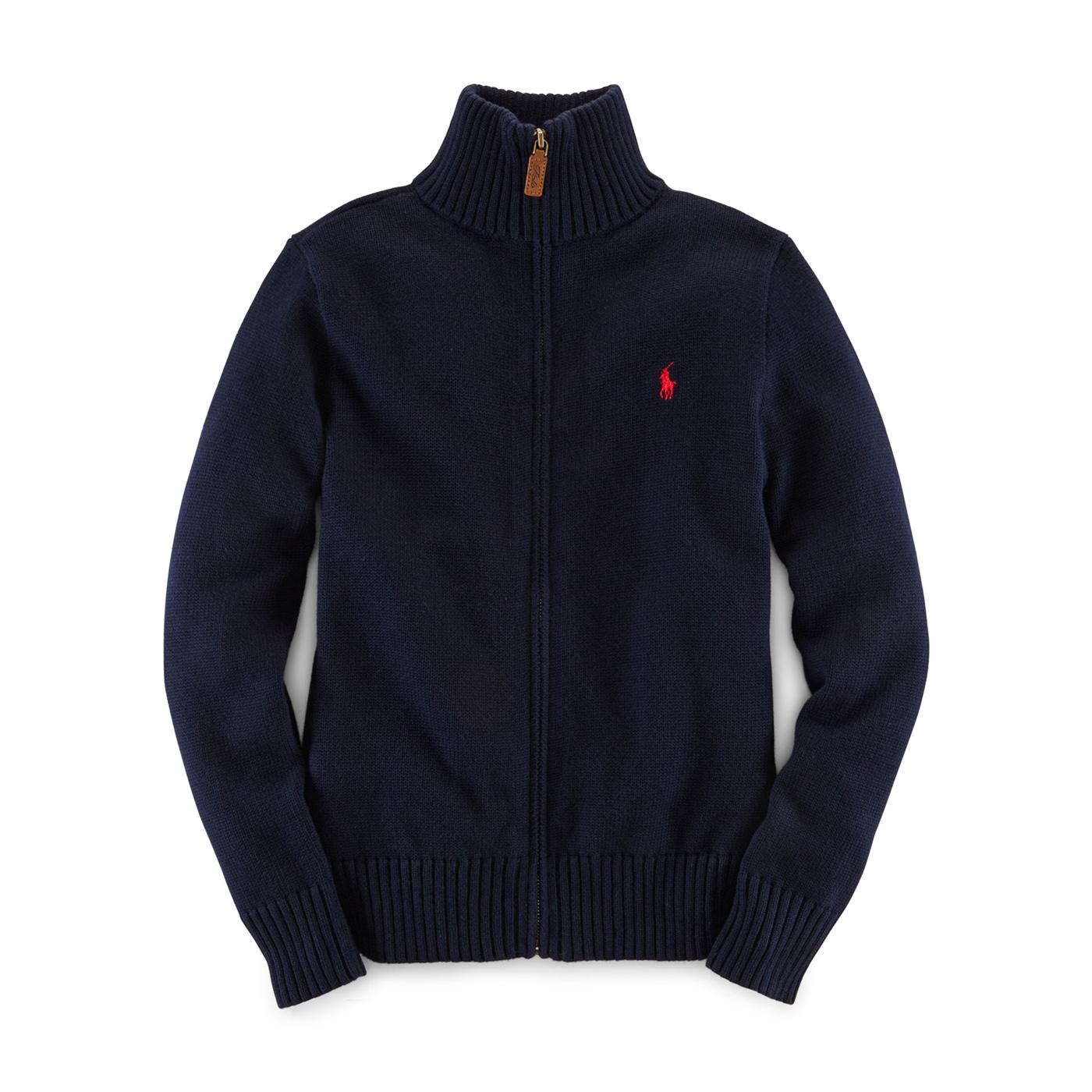 美國百分百【Ralph Lauren】RL polo 立領 外套 厚款 上衣 毛衣 針織衫 深藍 XS S號 F858