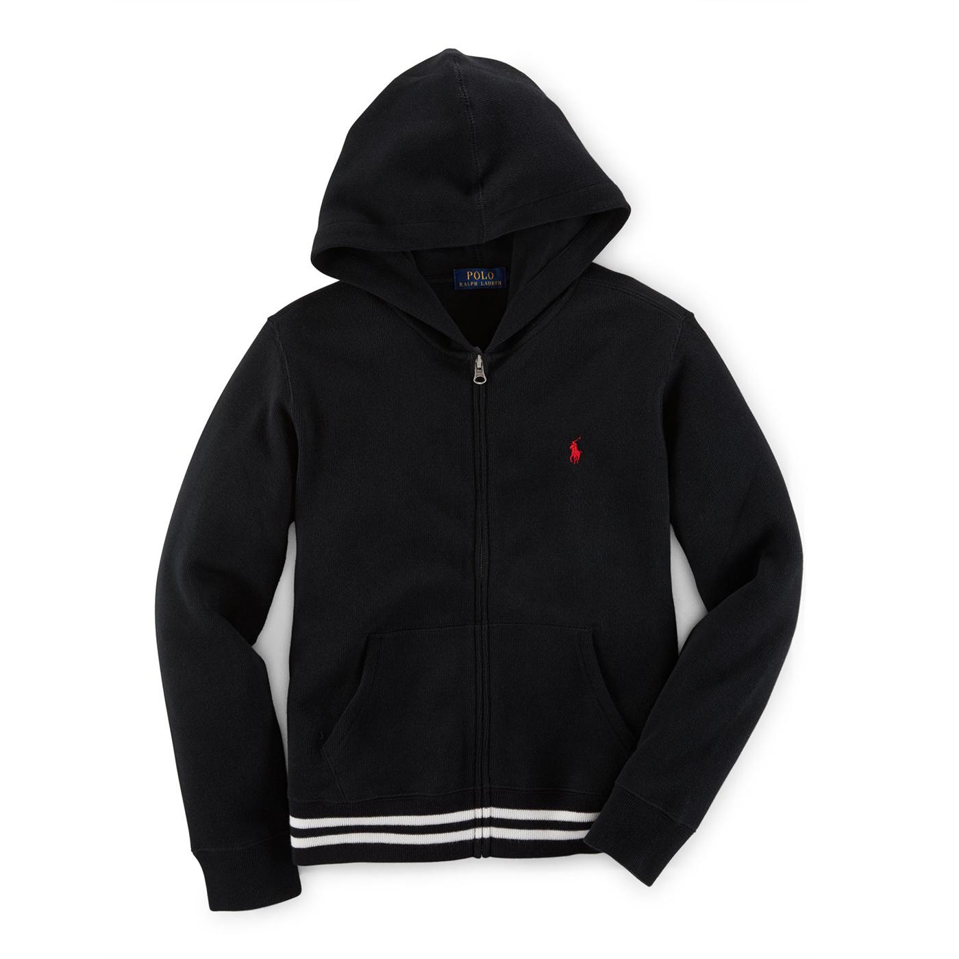 美國百分百【Ralph Lauren】RL polo 棉質 連帽 外套 針織 羅紋 夾克 小馬 黑 XS S號 F859