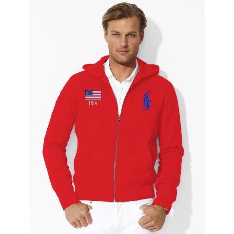 美國百分百【全新真品】Ralph Lauren RL polo 棉質 連帽 外套 夾克 大馬 國旗 紅色 S號 F864