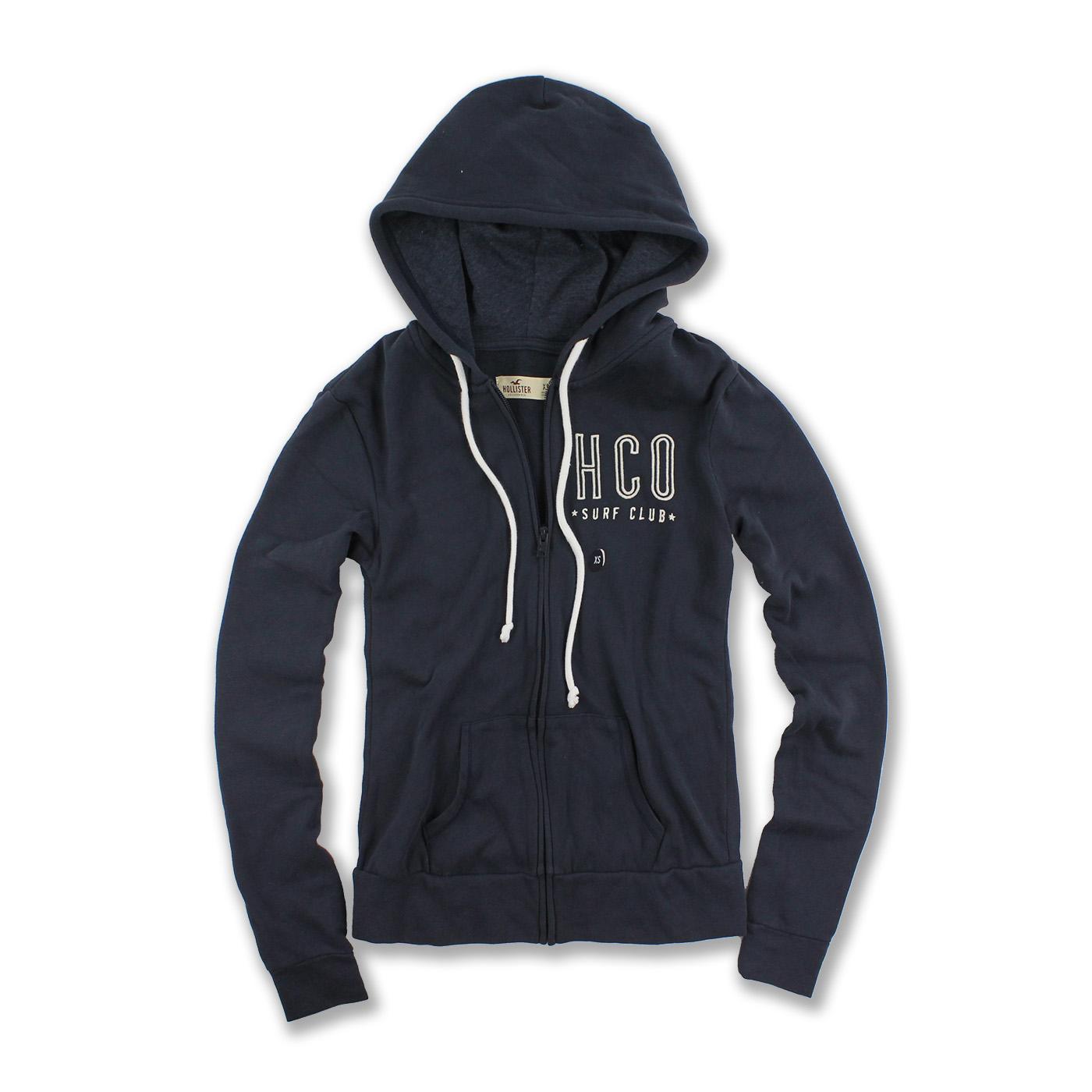 美國百分百【全新真品】Hollister Co. 外套 HCO 連帽 長袖 夾克 海鷗 刷毛 深藍 女 特價 XS S號 F867
