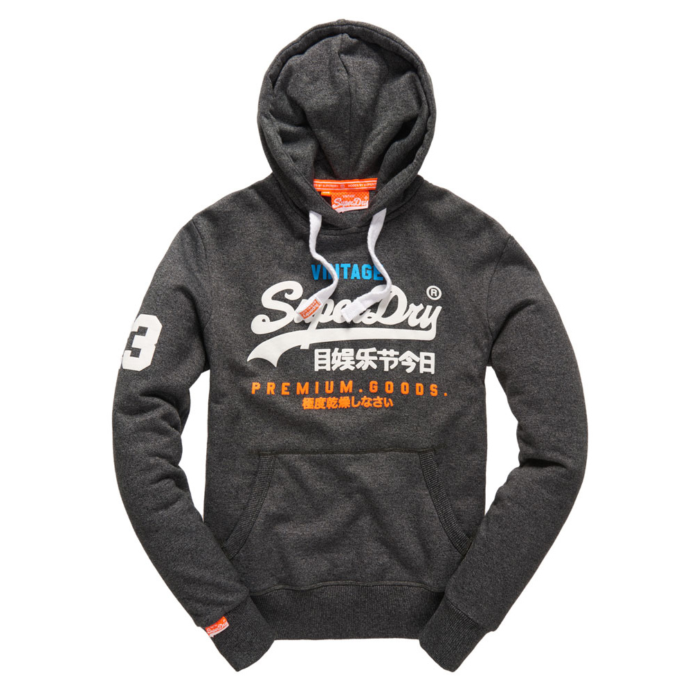 美國百分百【全新真品】Superdry 極度乾燥 帽T 連帽 長袖 刷毛 經典款 復古 S號 砂礫黑 F873