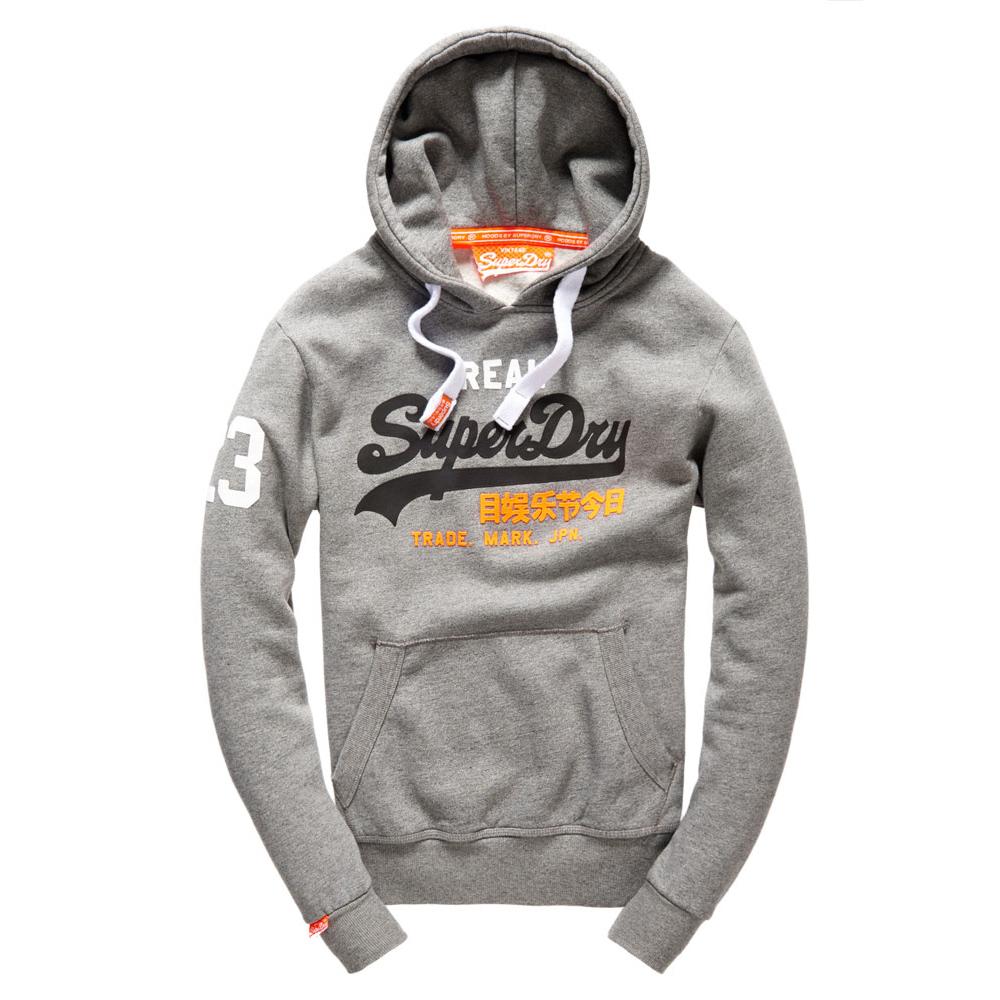 美國百分百【全新真品】Superdry 極度乾燥 帽T 連帽 長袖 刷毛 經典款 復古 S號 灰色 F874