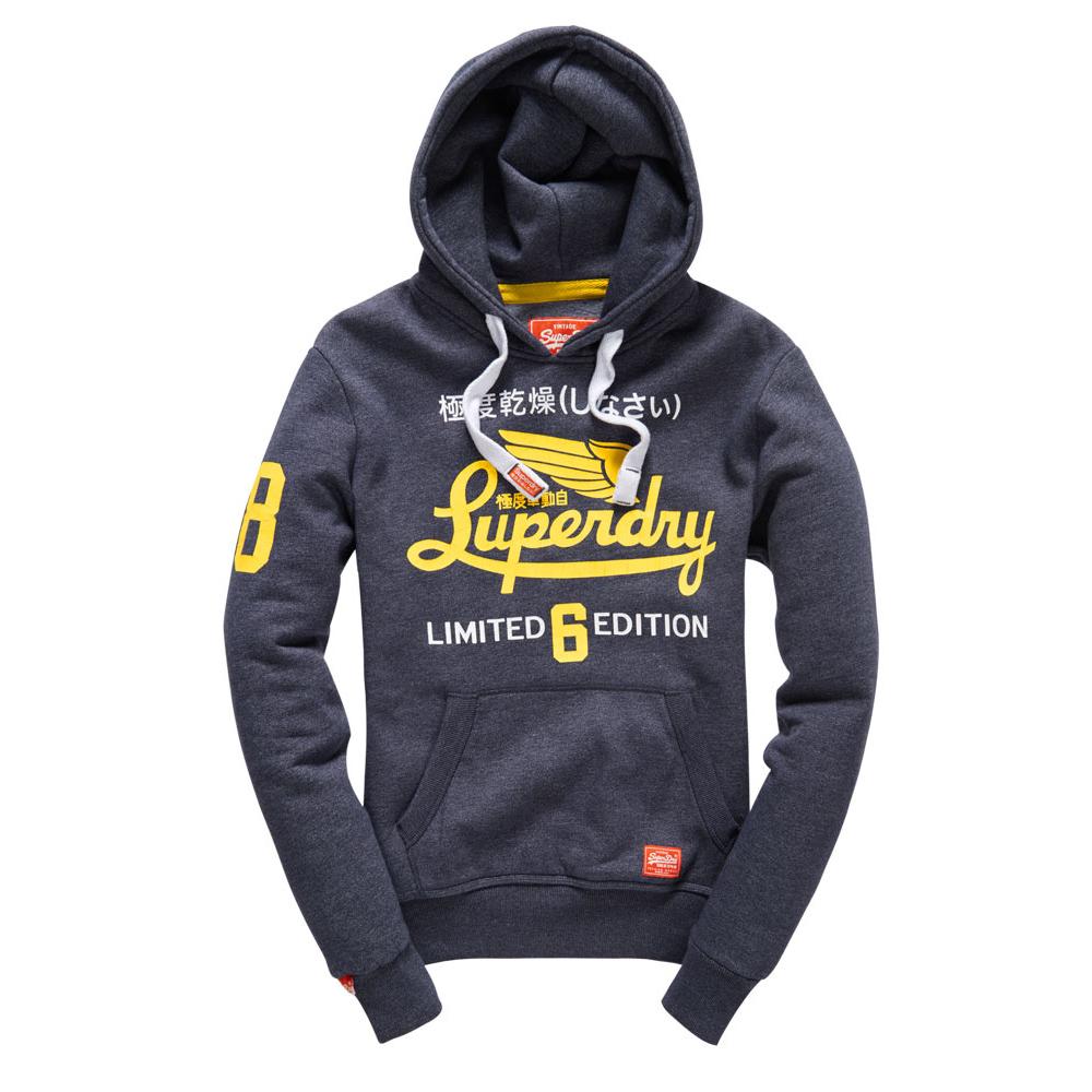美國百分百【全新真品】Superdry 極度乾燥 帽T 連帽 長袖 刷毛 經典款 復古 S號 藏藍色 F875