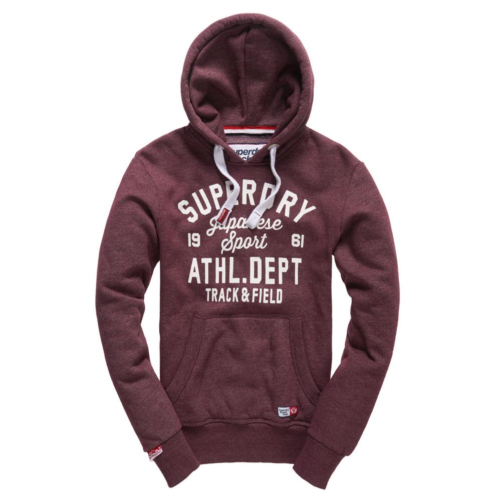 美國百分百【全新真品】Superdry 極度乾燥 帽T 連帽 長袖 刷毛 經典款 復古 S號 酒紅色 F876
