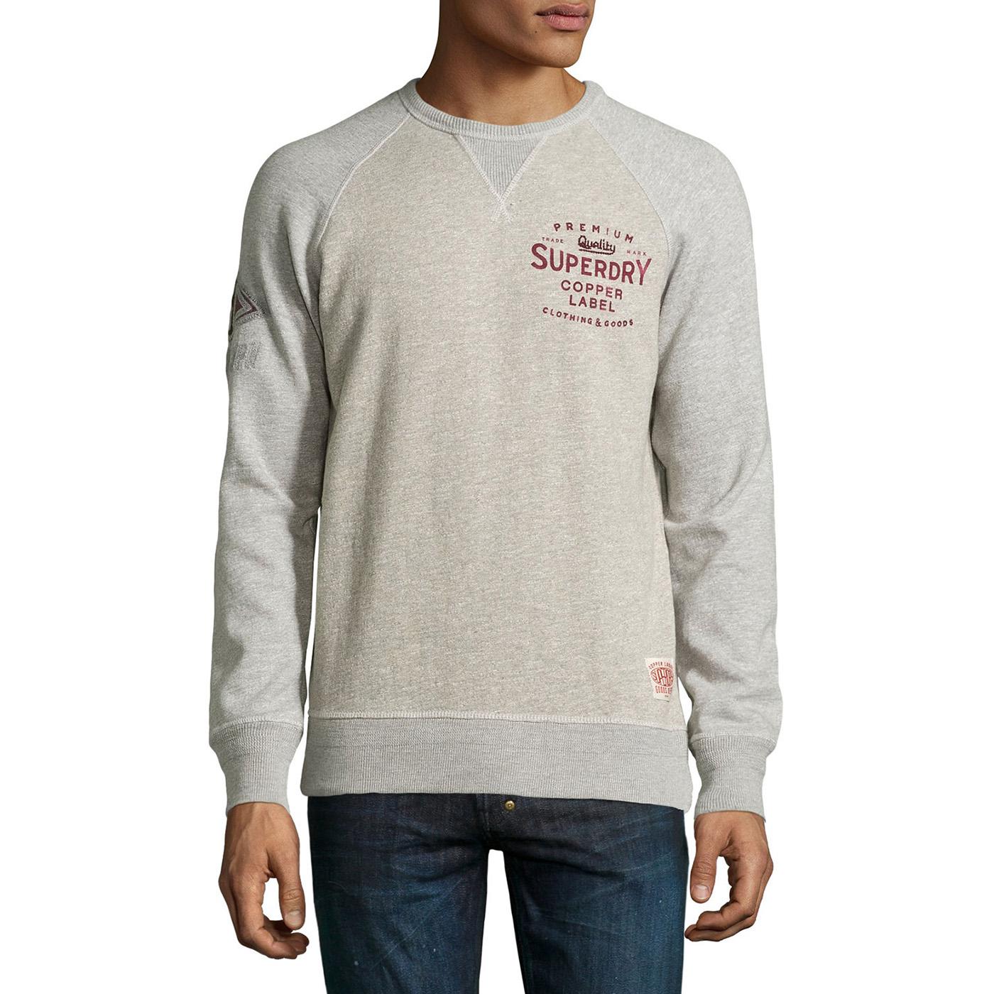 美國百分百【全新真品】Superdry 極度乾燥 T恤 T-shirt 大學T 長袖 鋪棉 復古 S號 灰色 F884