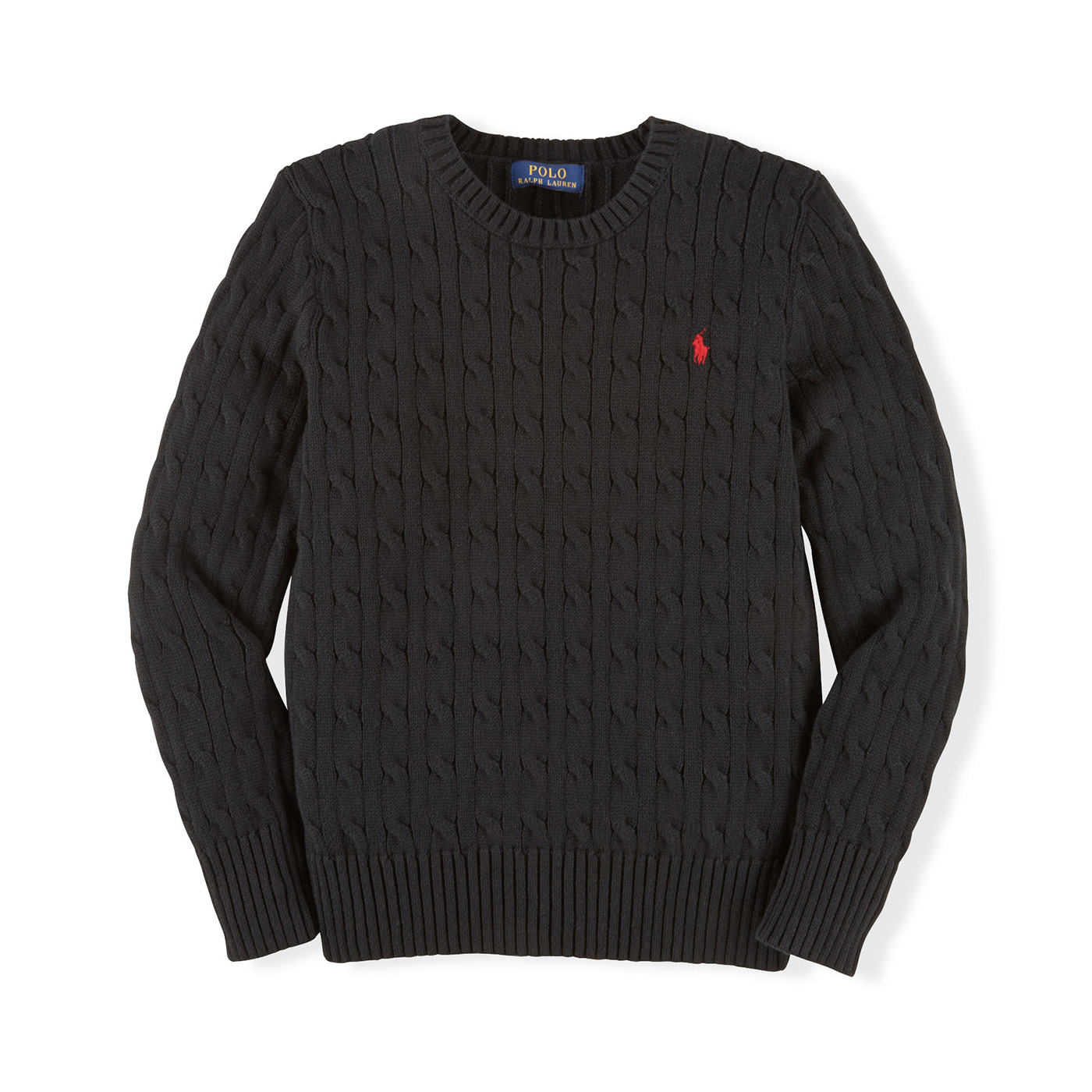美國百分百【Ralph Lauren】針織衫 RL polo 小馬 毛衣 線衫 麻花 黑色 S號 C459