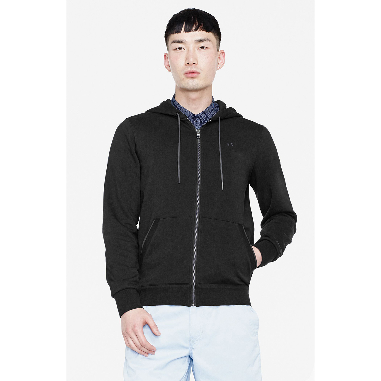 美國百分百【Armani Exchange】外套 AX 連帽 棉質 夾克 亞曼尼 黑色 上衣 男 S號 F879