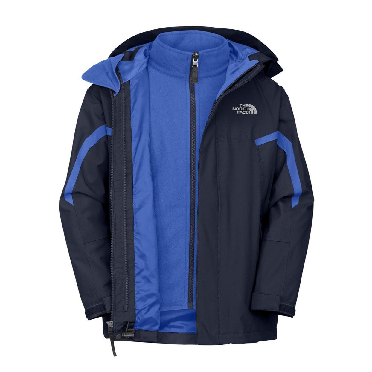美國百分百【The North Face】防風 連帽 外套 TNF 保暖 防水 防寒 兩件式 北臉 深藍 S號 F883