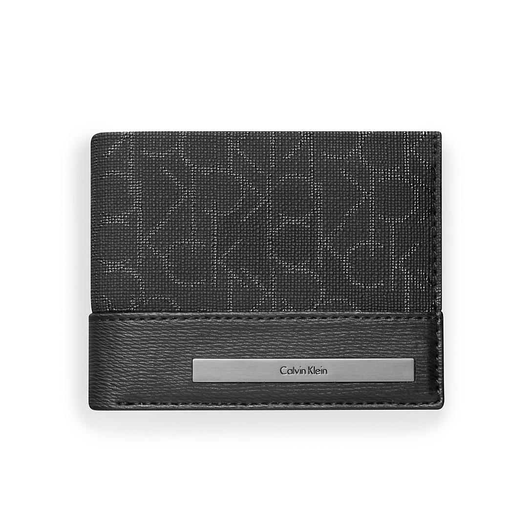 美國百分百【Calvin Klein】皮夾 CK 短夾 真皮 二折 皮革 質感 鈔票 logo 男 黑色 F905