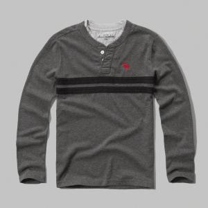 美國百分百【Abercrombie & Fitch】T恤 AF 長袖 T-shirt 麋鹿 亨利領 灰 男 女 S號 F911