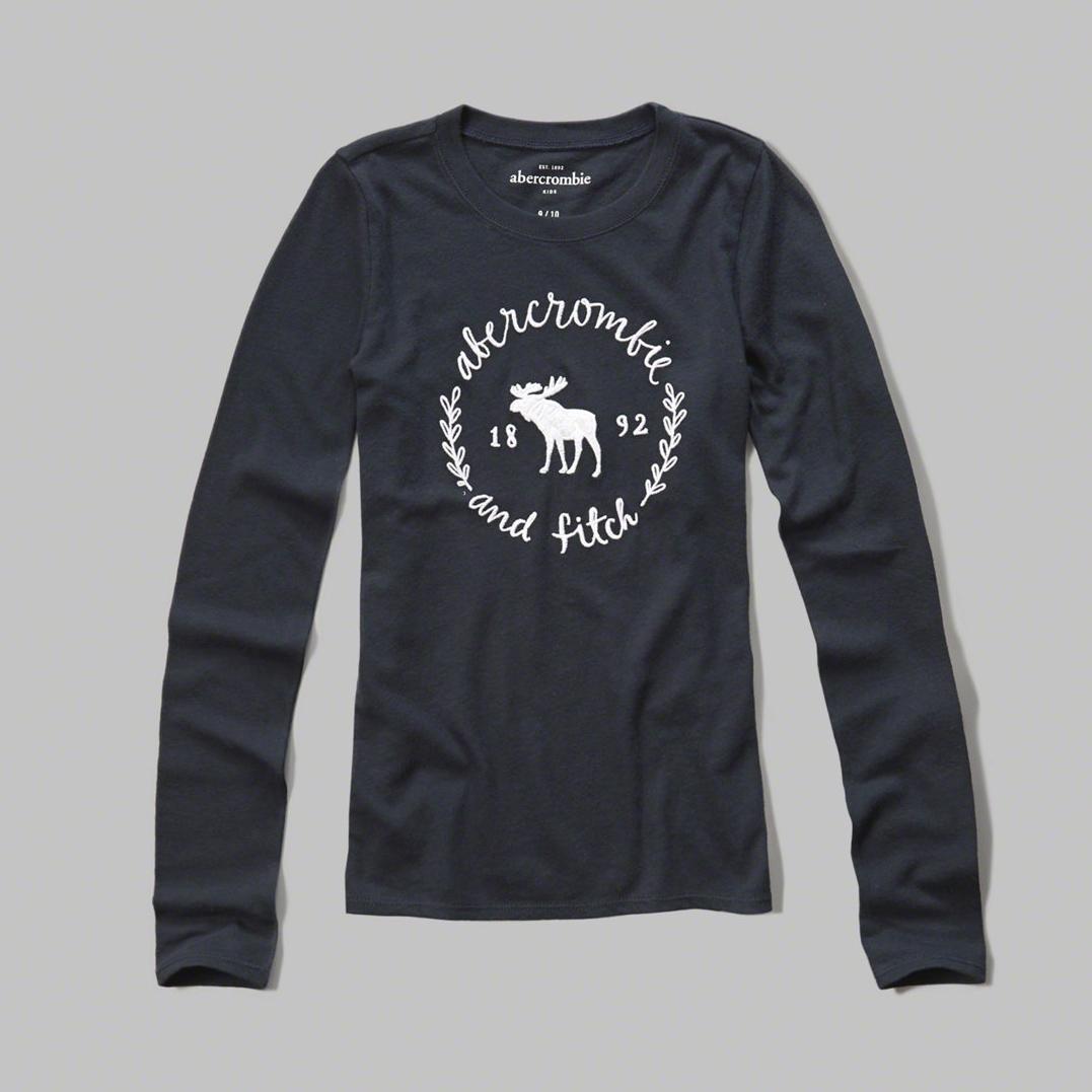 美國百分百【Abercrombie & Fitch】T恤 AF 長袖 T-shirt 麋鹿 深藍 女 特價 S號 F914