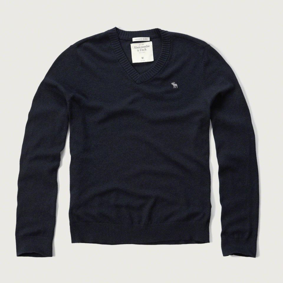 美國百分百【Abercrombie & Fitch】針織衫 AF 毛衣 麋鹿 V領 喀什米爾 羊毛 深藍色 S M L XL號 F928