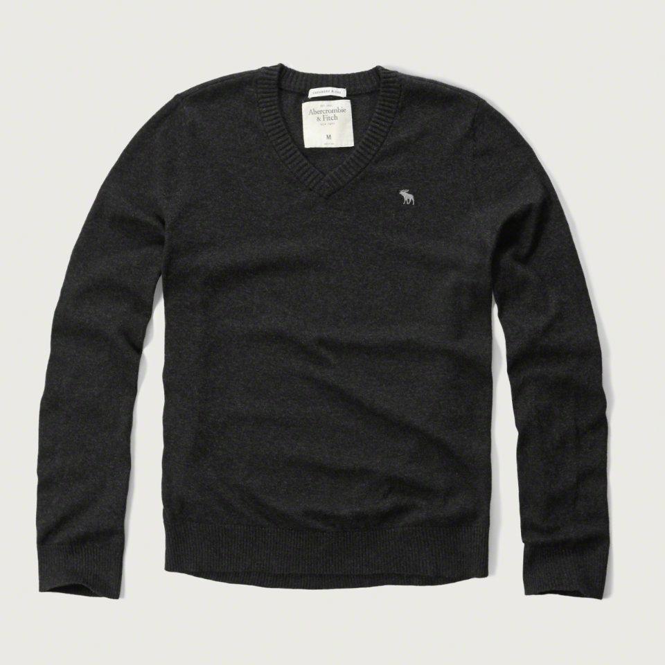 美國百分百【Abercrombie & Fitch】針織衫 AF 毛衣 麋鹿 V領 喀什米爾 羊毛 暗灰色 S M號 F928