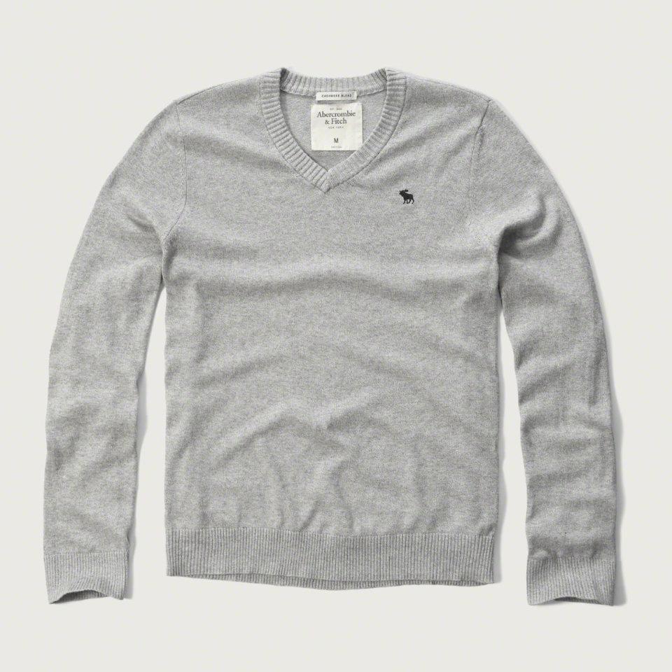 美國百分百【Abercrombie & Fitch】針織衫 AF 毛衣 麋鹿 V領 喀什米爾 羊毛 淺麻灰 M號 F928