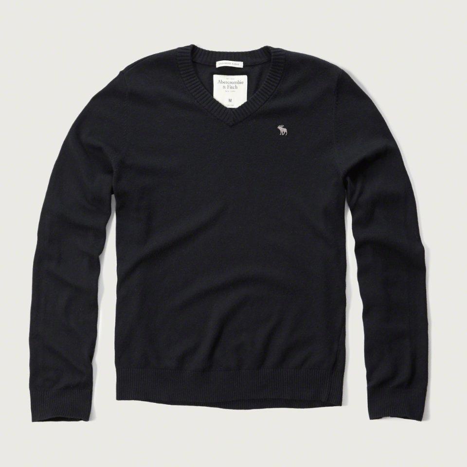 美國百分百【Abercrombie & Fitch】針織衫 AF 毛衣 麋鹿 V領 喀什米爾 羊毛 海軍藍 S M L號 F928