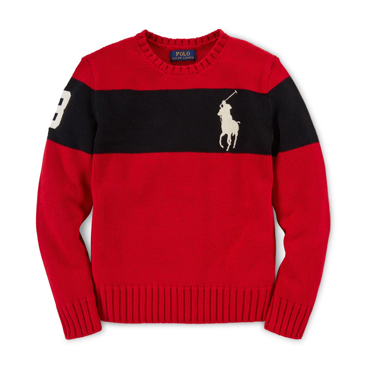 美國百分百【Ralph Lauren】針織衫 RL polo 大馬 毛衣 線衫 厚款 撞色 紅色 黑 XS S F940