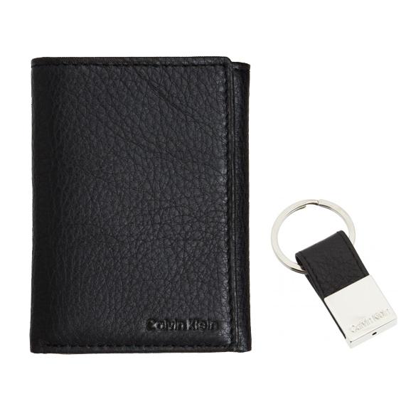 美國百分百【全新真品】Calvin Klein 皮夾 男夾 皮包 CK 短夾 錢包 三折式 鑰匙圈 禮盒 黑色 B355