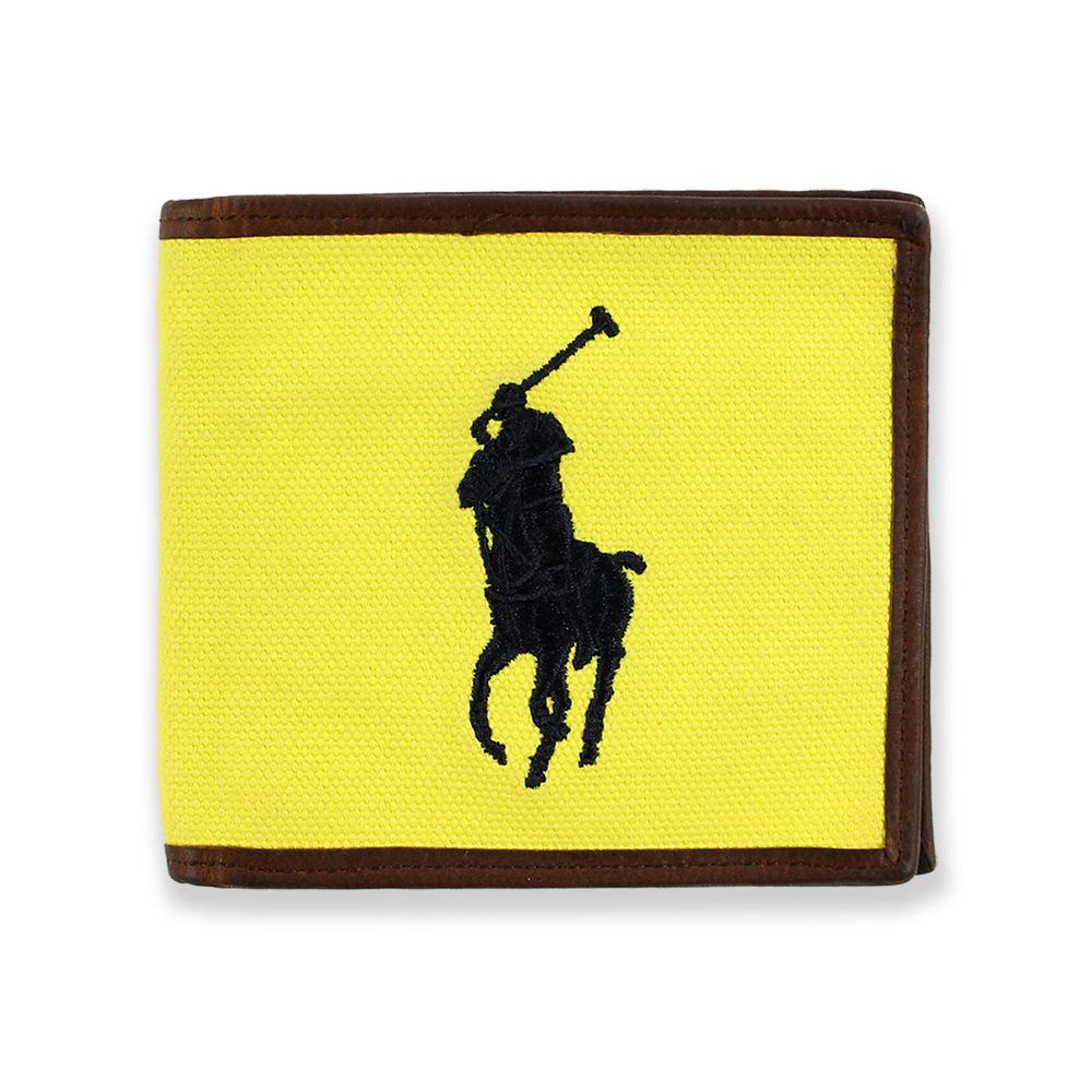 美國百分百【全新真品】Ralph Lauren 皮夾 RL 短夾 Polo 帆布 大馬 鈔票 名片 黃底深藍馬 C492