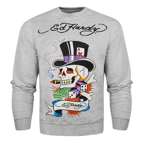 美國百分百【Ed Hardy】潮牌 上衣 T-shirt 長袖 T恤 大學T 刺青 骷髏 魔術師 灰色 S號 F956