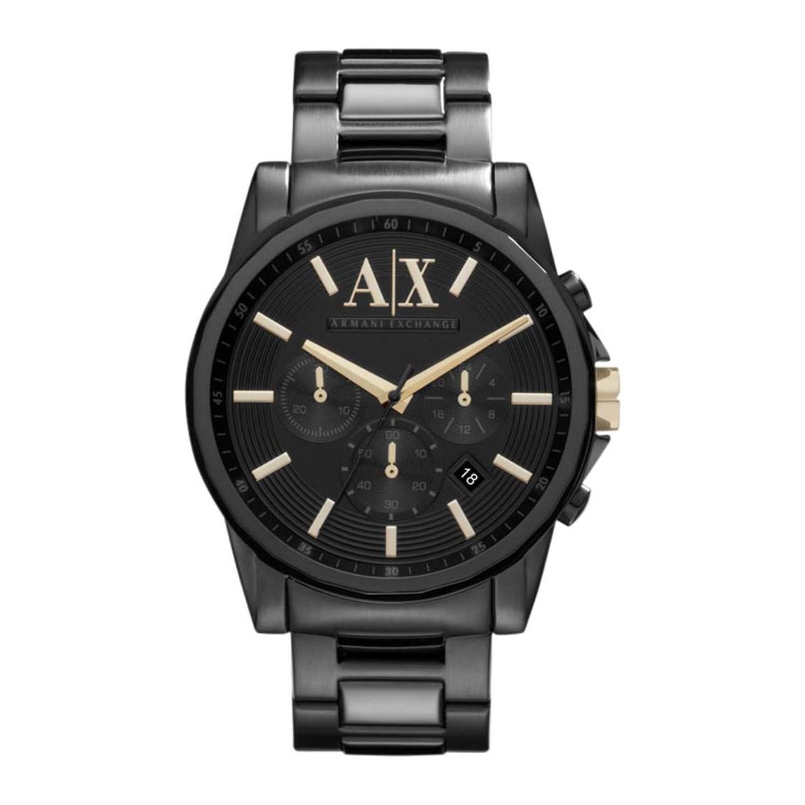 美國百分百【Armani Exchange】配件 AX 手錶 腕錶 大表面 三眼 計時 阿曼尼 不鏽鋼 黑色 F997