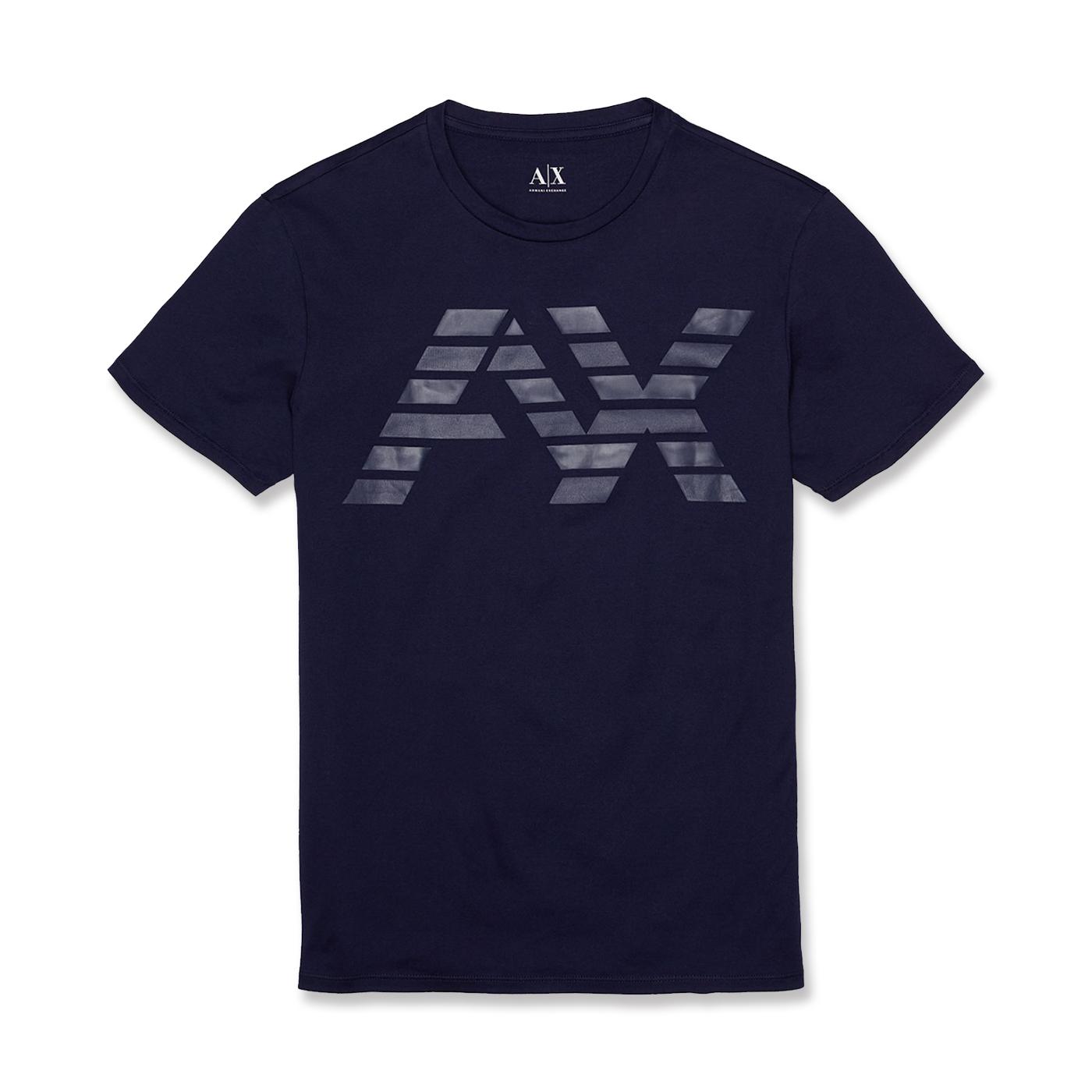 美國百分百【Armani Exchange】T恤 AX 短袖 logo 上衣 T-shirt 分割 S號 深藍 G005