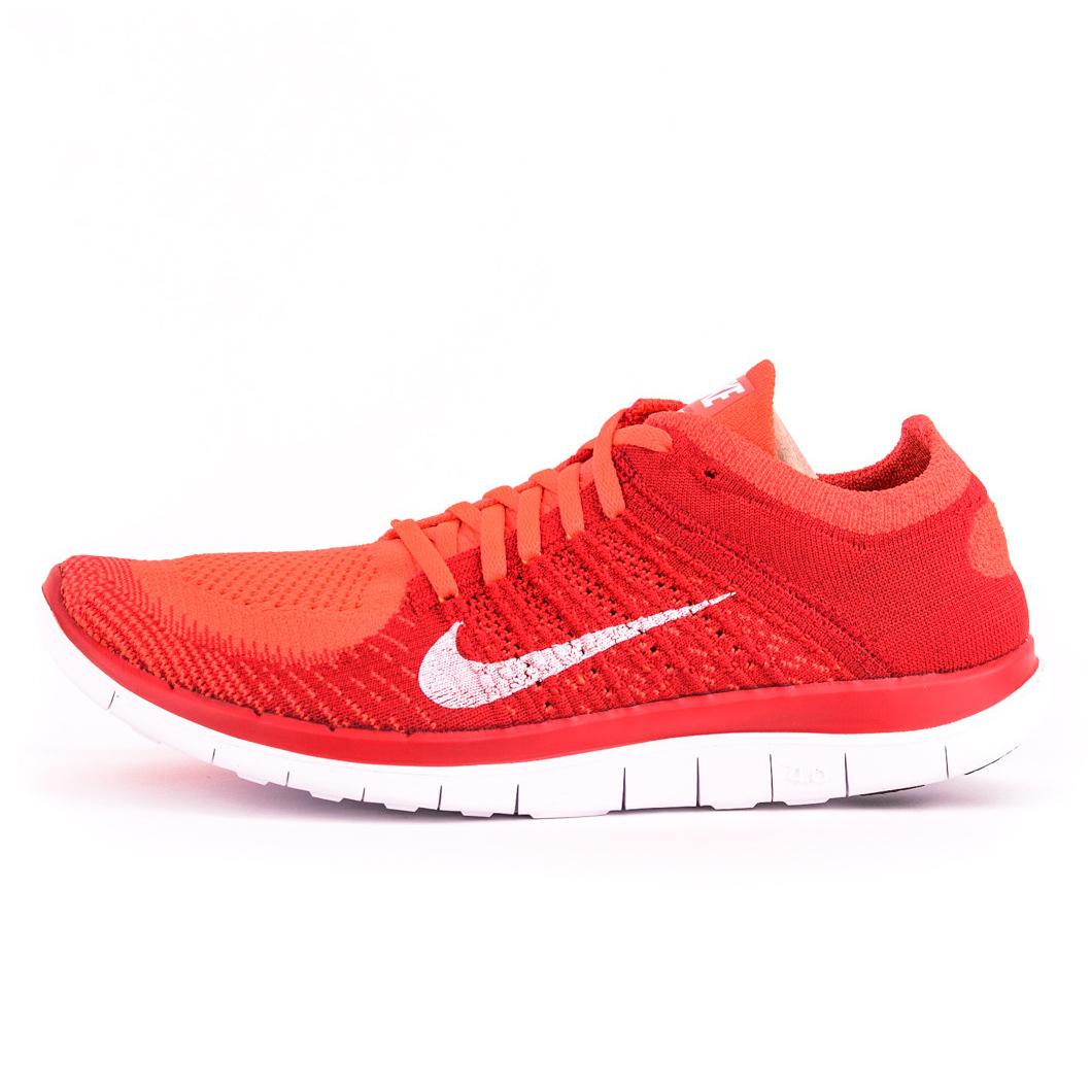 美國百分百【Nike】Free 4.0 Flyknit 耐吉 鞋子 慢跑鞋 運動鞋 球鞋 編織 螢光橘 紅 男 G030