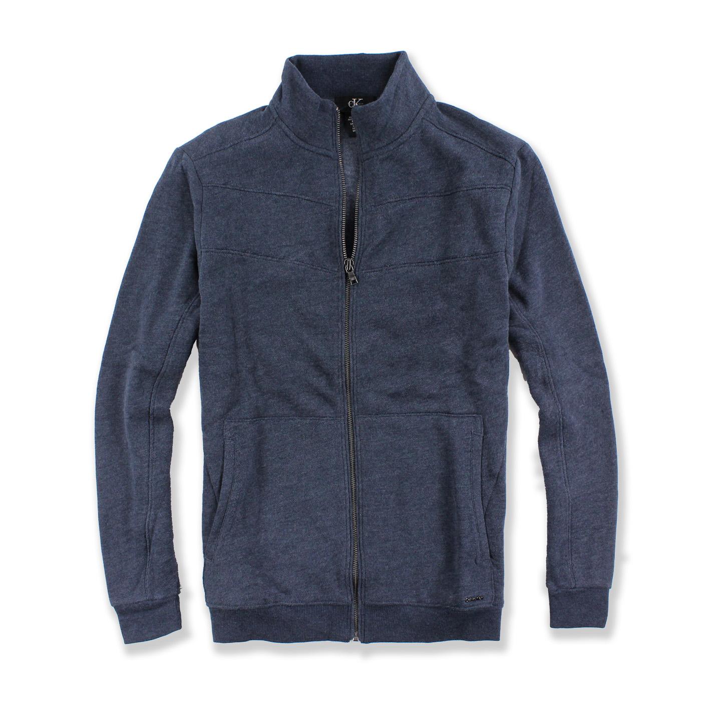 美國百分百【全新真品】Calvin Klein 外套 CK 夾克 立領 騎士 棉質 修身 藍灰色 S號 G039