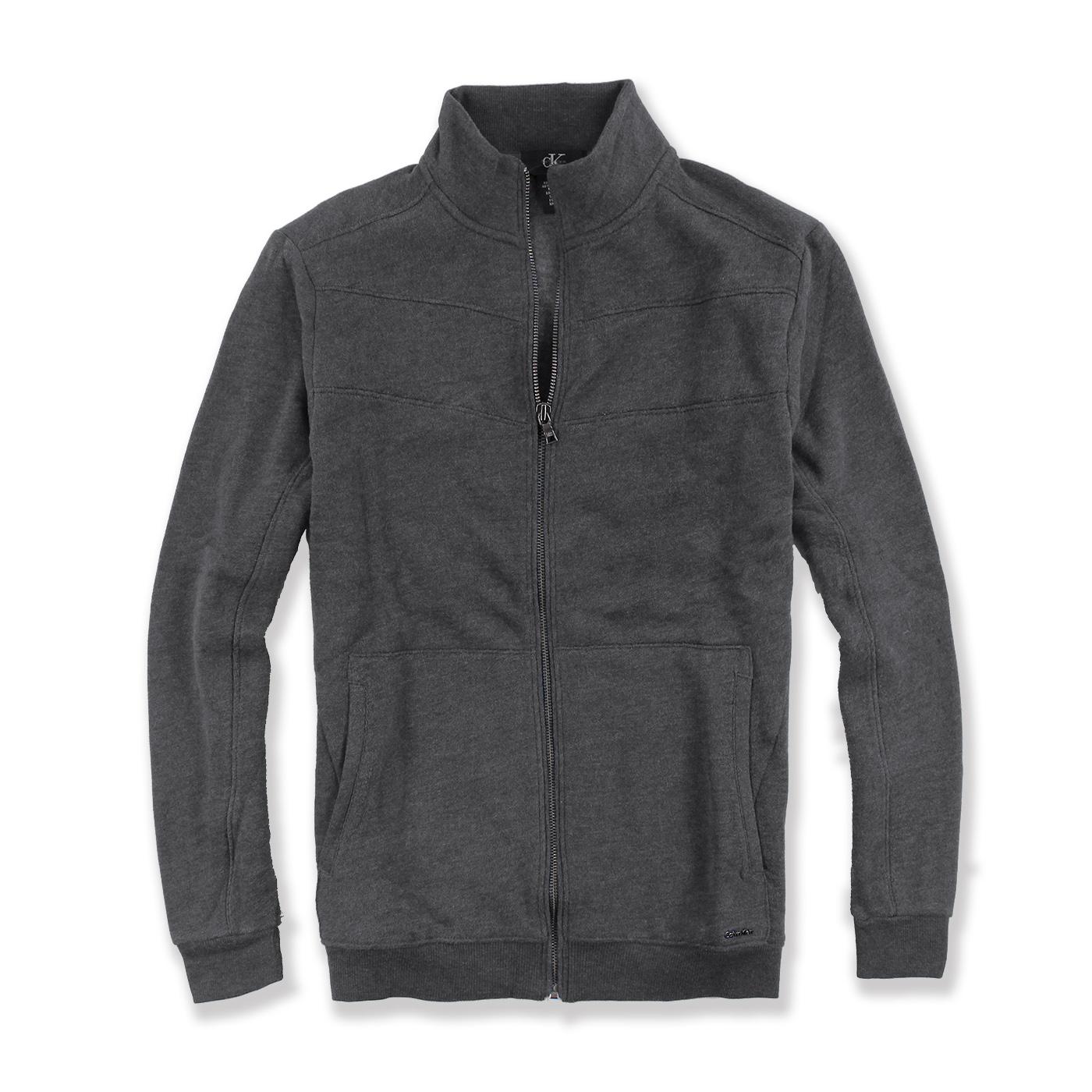 美國百分百【全新真品】Calvin Klein 外套 CK 夾克 立領 騎士 棉質 修身 鐵灰色 S M號 G039
