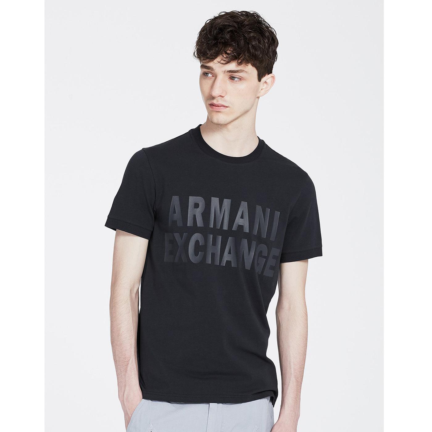 美國百分百【Armani Exchange】T恤 AX 短袖 logo 束口 T-shirt 黑 XS S號 G060