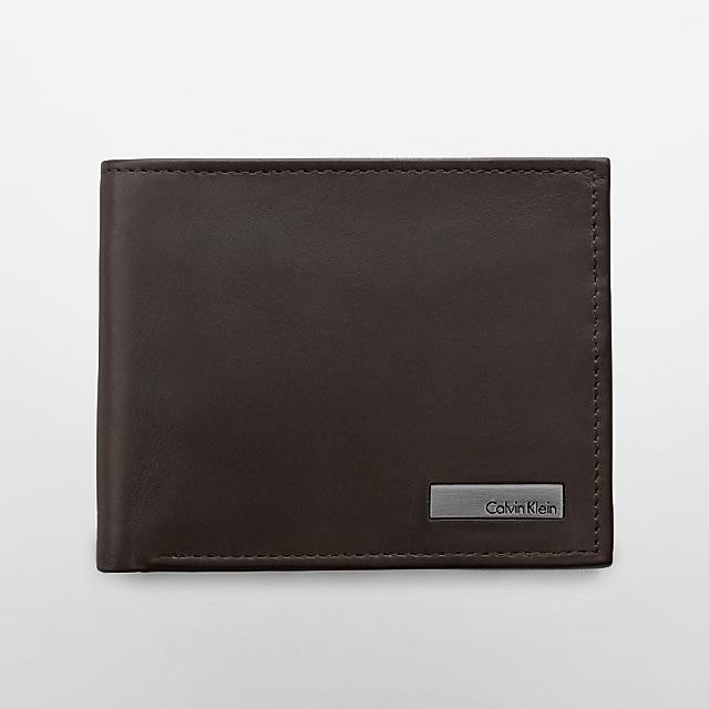 美國百分百【全新真品】Calvin Klein 皮夾 CK 短夾 真皮 二折 皮革 質感 鈔票 男 咖啡色 G100