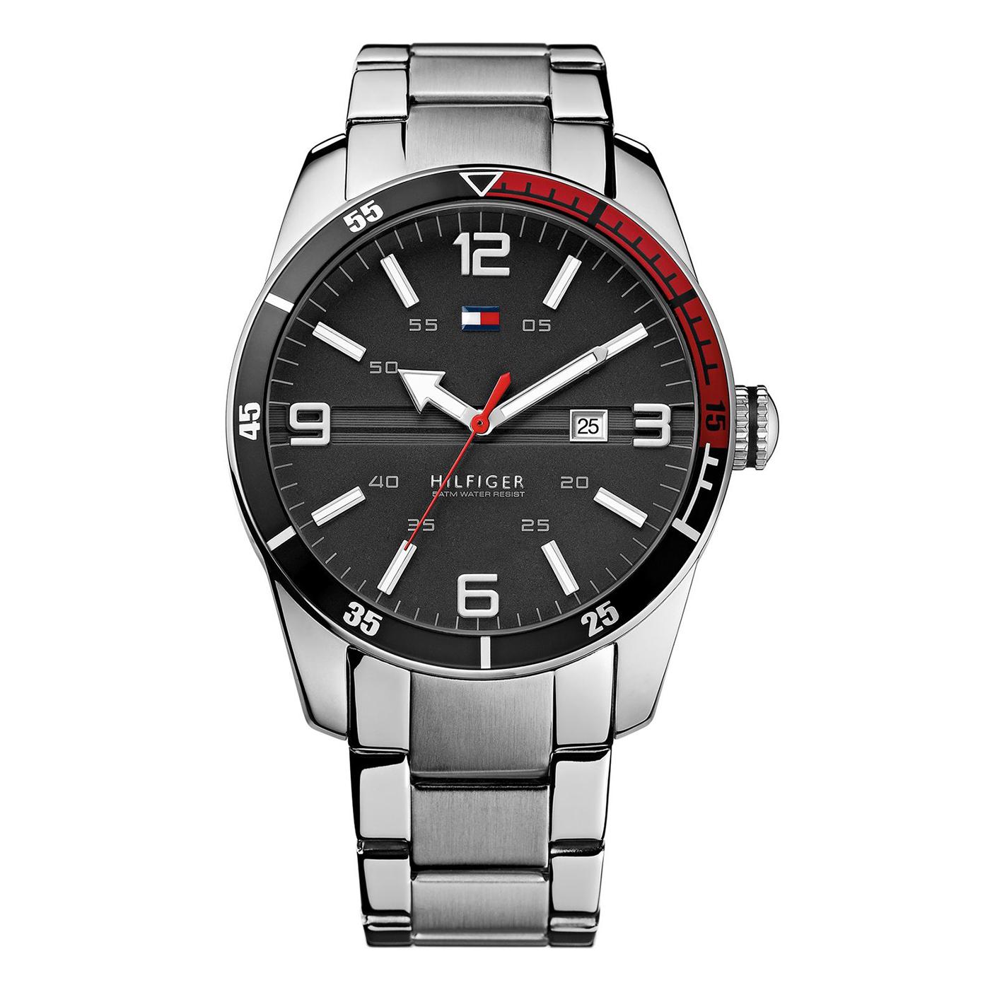 美國百分百【全新真品】Tommy Hilfiger 手錶 TH 配件 不_鋼 金屬錶帶 石英 日期 計時 銀色 G106