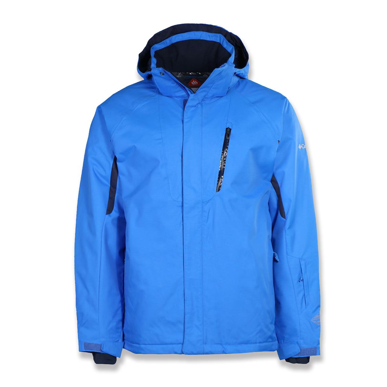 美國百分百【全新真品】Columbia 外套 夾克 連帽 哥倫比亞 登山 滑雪 發熱衣 防水 男 藍色 S號 G162