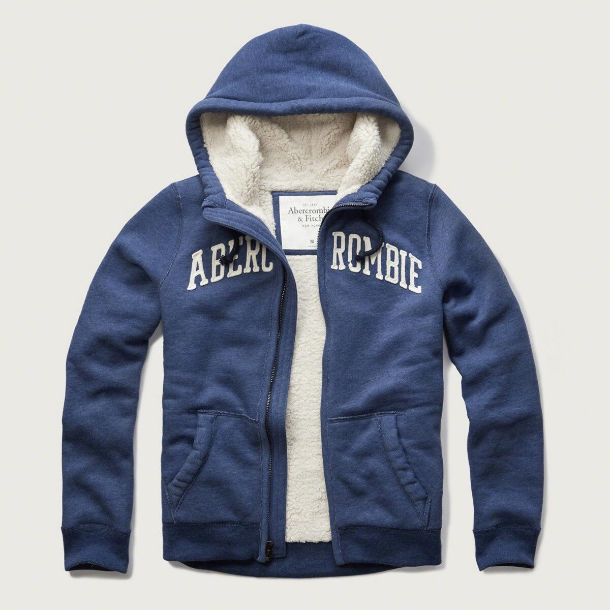 美國百分百【Abercrombie & Fitch】外套 AF 連帽 夾克 麋鹿 刷厚毛 藍色 大尺碼 S、M、L、XL、XXL號 G210