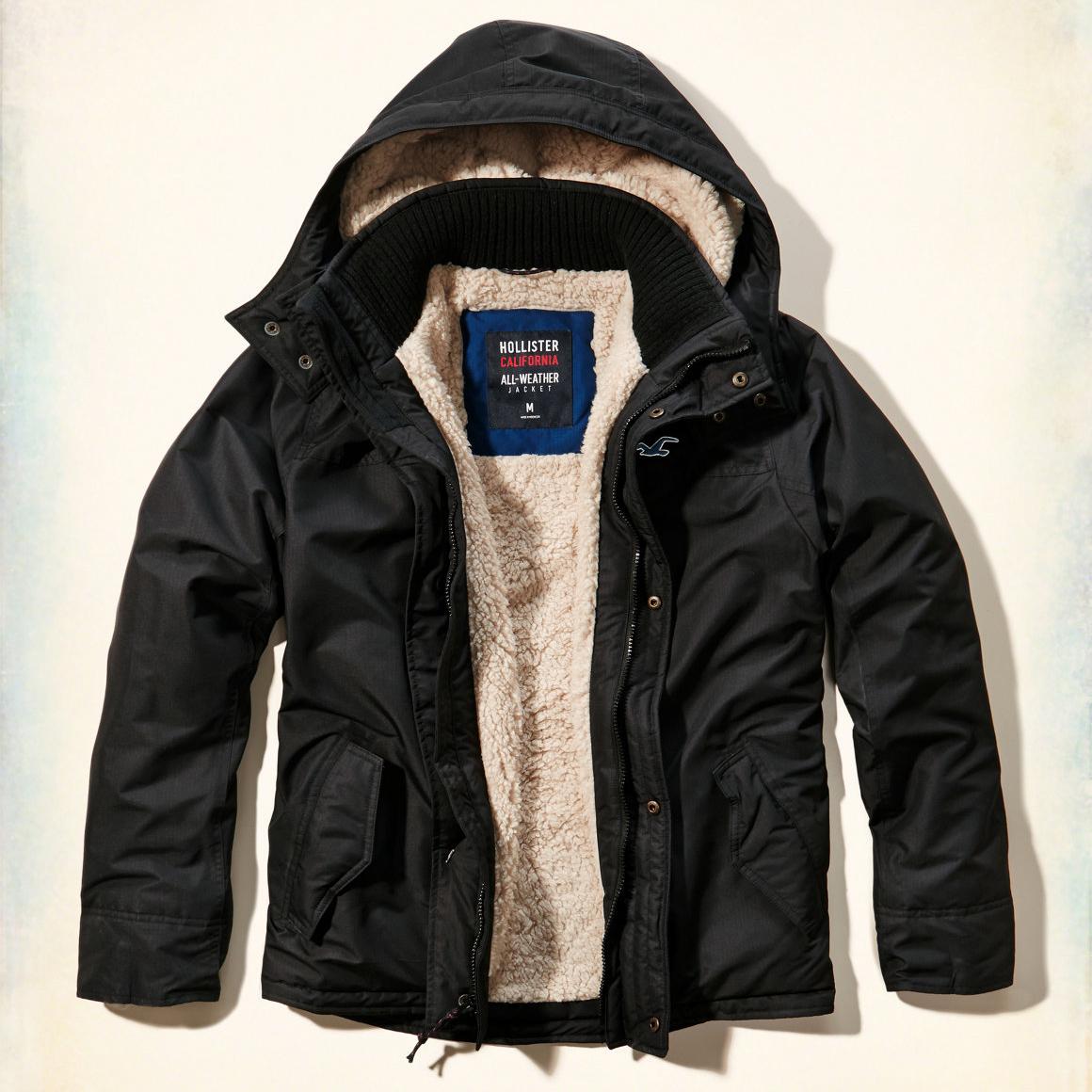 美國百分百【Hollister Co.】風衣 外套 HCO 鋪厚棉 連帽 夾克 海鷗 黑色 S M L XL號 G248