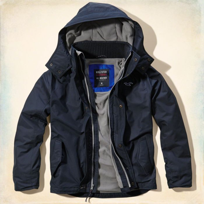 美國百分百【全新真品】Hollister Co. 風衣 外套 HCO 鋪棉 連帽 夾克 海鷗 深藍色 S號 G249