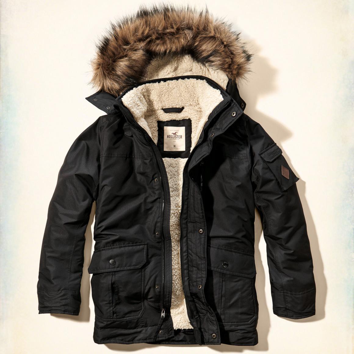 美國百分百【Hollister Co.】風衣 外套 大衣 HCO 鋪厚棉 皮草 連帽 夾克 海鷗 黑色 S M G250