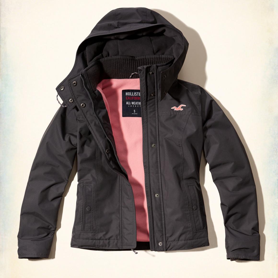 美國百分百【全新真品】Hollister Co. 風衣 外套 HCO 連帽 夾克 海鷗 刷毛 深灰色 女 S號 G252