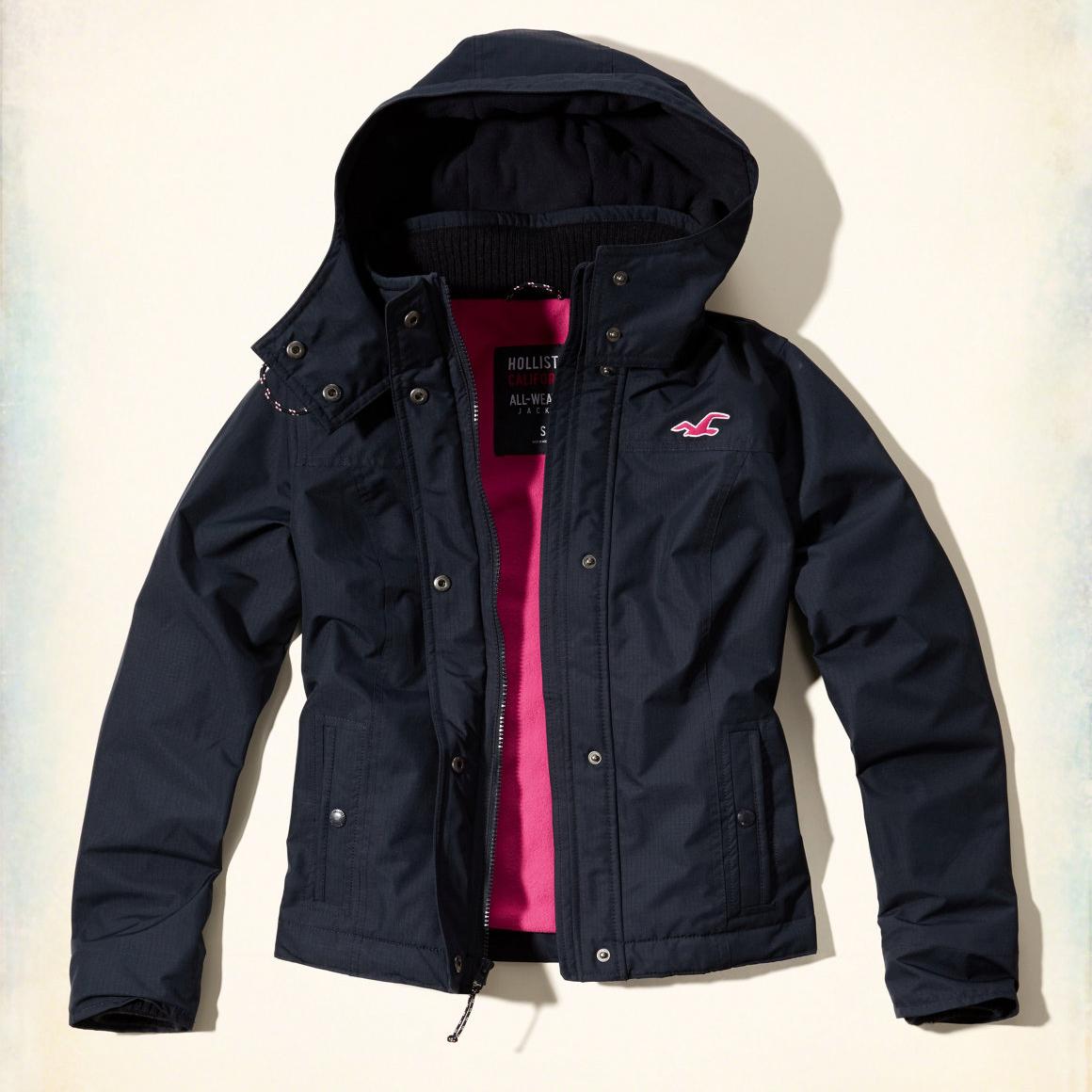 美國百分百【Hollister Co.】風衣 外套 HCO 連帽 夾克 海鷗 刷毛 深藍 女 S M號 G252