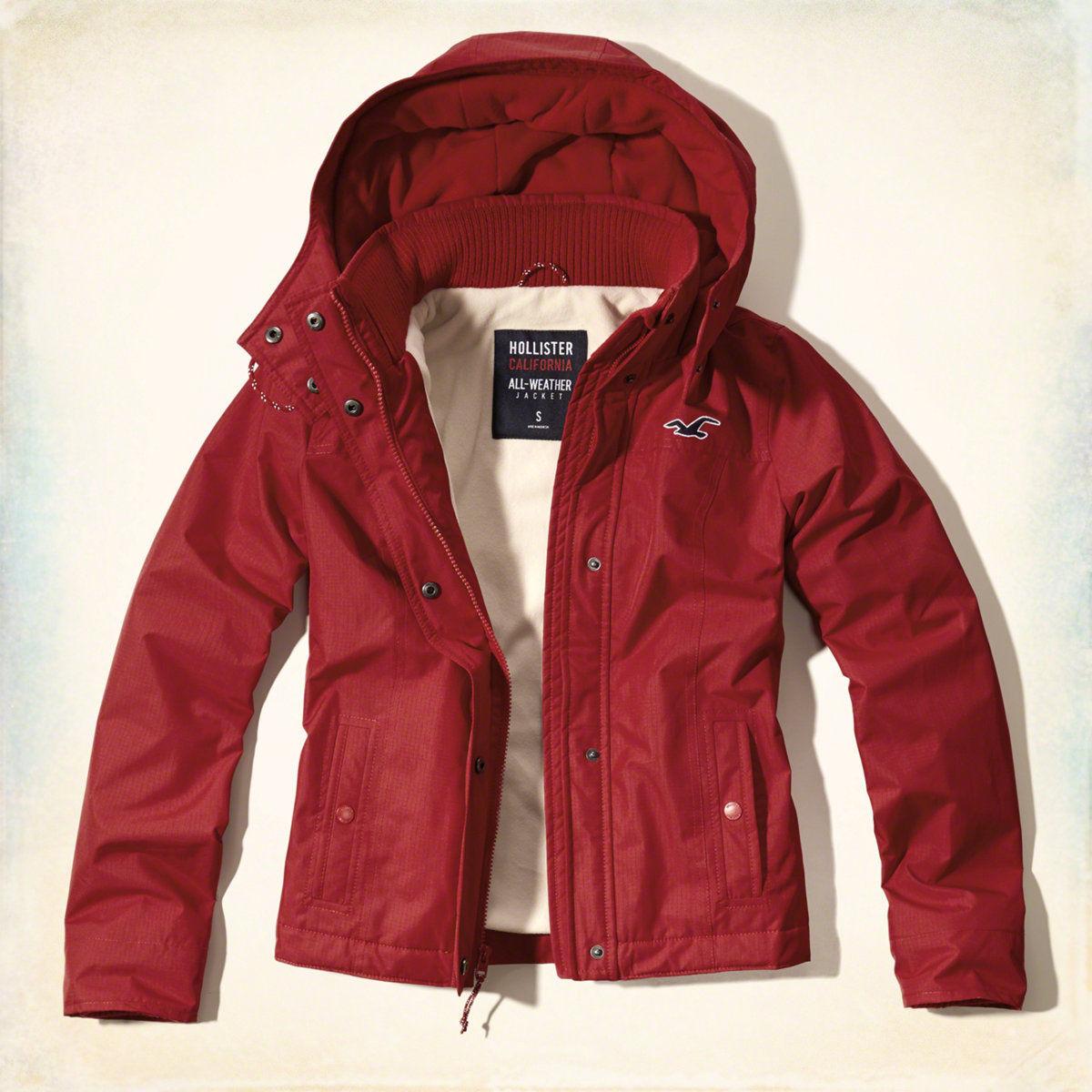 美國百分百【全新真品】Hollister Co. 風衣 外套 HCO 連帽 夾克 海鷗 刷毛 紅色 女 S號 G252