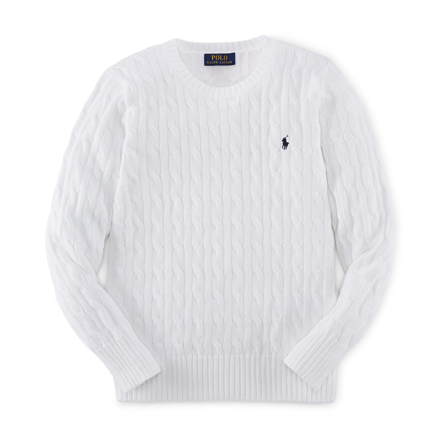 美國百分百【Ralph Lauren】針織衫 RL polo 小馬 棉質毛衣 線衫 麻花 白色 XS S號 C459