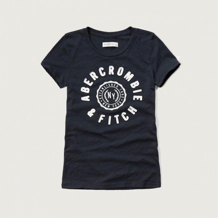 美國百分百【Abercrombie & Fitch】T恤 AF 短袖 T-shirt 短T 麋鹿 女 深藍 XS S M號 G262