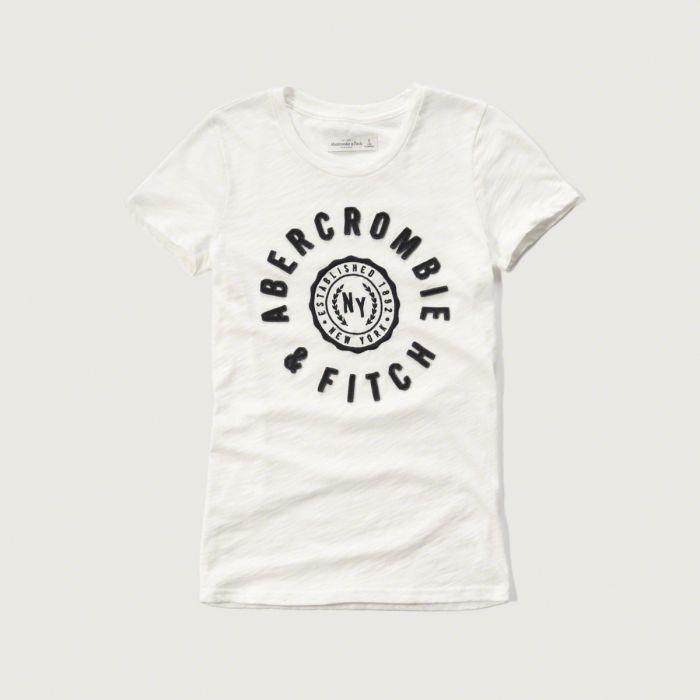 美國百分百【Abercrombie & Fitch】T恤 AF 短袖 T-shirt 短T 麋鹿 女 白色 XS S M號 G262