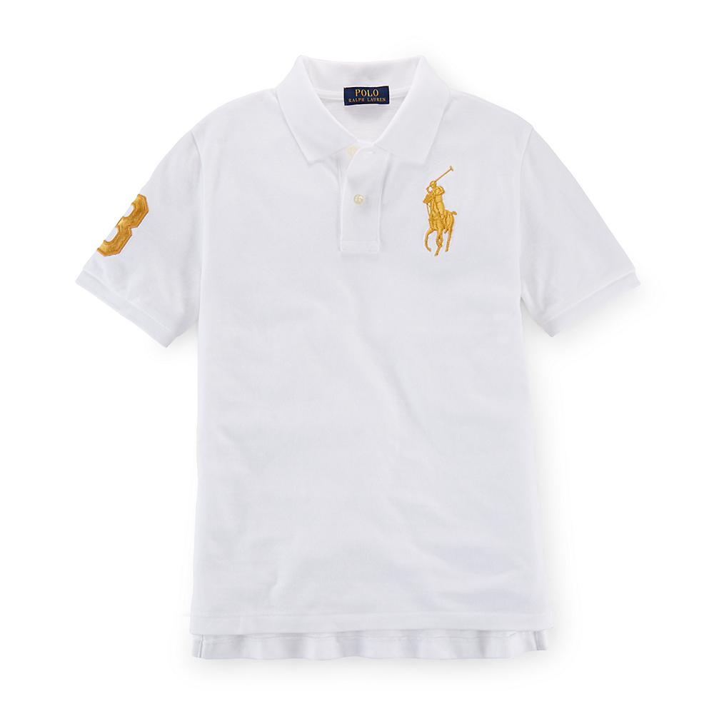 美國百分百【Ralph Lauren】Polo衫 RL 短袖 素面 網眼 大馬 金馬 白色 情侶裝 男 女 XXS XS S號 G293